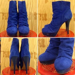 Bakers Women's Blue Suede Ruched Stiletto Booties